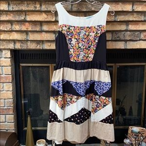 Anthropologie patchwork dress by Leifnotes size 12